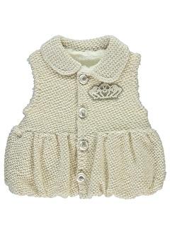 Minidamla Minidamla Kız Bebek Yelek 1-9 Ay Ekru Minidamla Kız Bebek Yelek 1-9 Ay Ekru